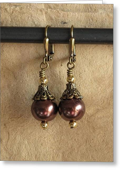 Gold Earrings Greeting Cards - Chocolate Drops Greeting Card by Jan Brieger-Scranton