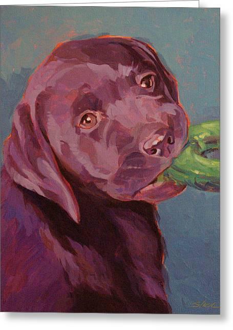 Chocolate Labrador Retriever Paintings Greeting Cards - Chocolate Lab Chew Toy Greeting Card by Shawn Shea
