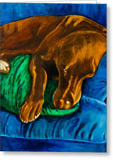 Chocolate Lab Greeting Cards - Chocolate Lab On Couch Greeting Card by Roger Wedegis
