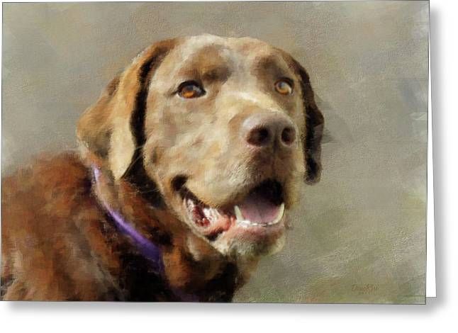 Dogs Digital Greeting Cards - Chocolate Labrador Greeting Card by   DonaRose