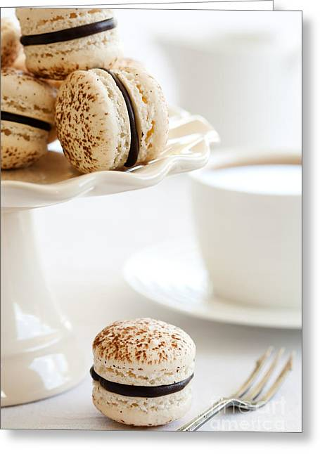 Tea Party Greeting Cards - Chocolate macarons Greeting Card by Ruth Black
