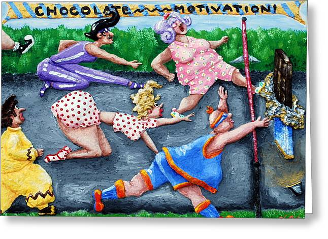 People Reliefs Greeting Cards - Chocolate Motivation Greeting Card by Alison  Galvan
