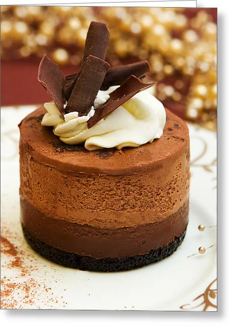 Cocoa Powder Greeting Cards - Chocolate Mousse Cake Greeting Card by Lorraine Kourafas