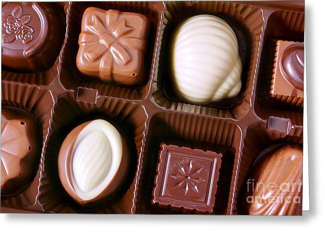 Assorted Photographs Greeting Cards - Chocolates closeup Greeting Card by Carlos Caetano