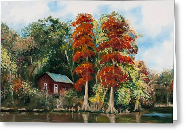 Hunting Camp Greeting Cards - Choctawhatchee River Camp Greeting Card by Rick McKinney