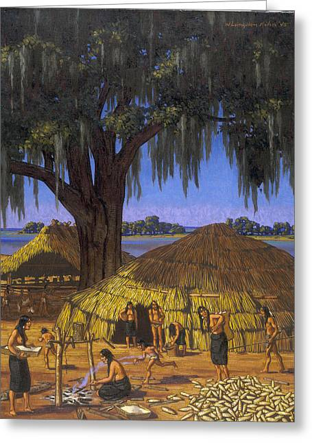 North American Indian Ethnicity Greeting Cards - Choctaws In Louisiana Bayou Country Greeting Card by W. Langdon Kihn