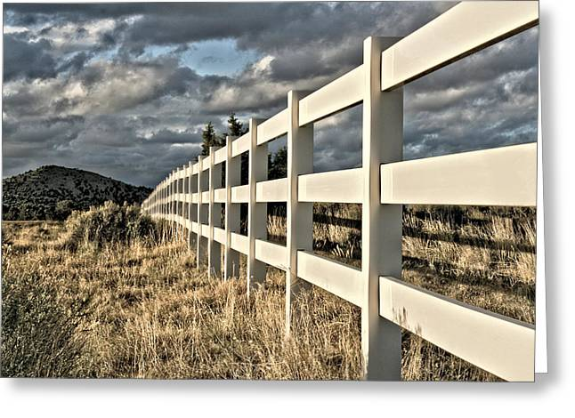 Fence Row Greeting Cards - Choose A Side Greeting Card by Mark  Ross
