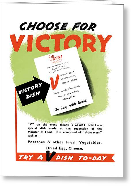 American Food Greeting Cards - Choose For Victory -- WW2 Greeting Card by War Is Hell Store