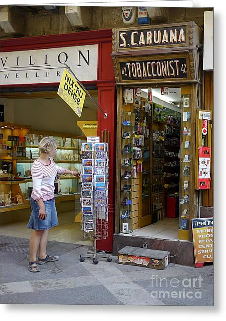 Tobacconist Greeting Cards - Choosing a Card Greeting Card by John Chatterley