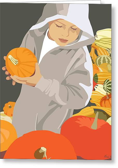 Autumn Scenes Digital Art Greeting Cards - Choosing a Pumpkin Greeting Card by Kris Hackleman