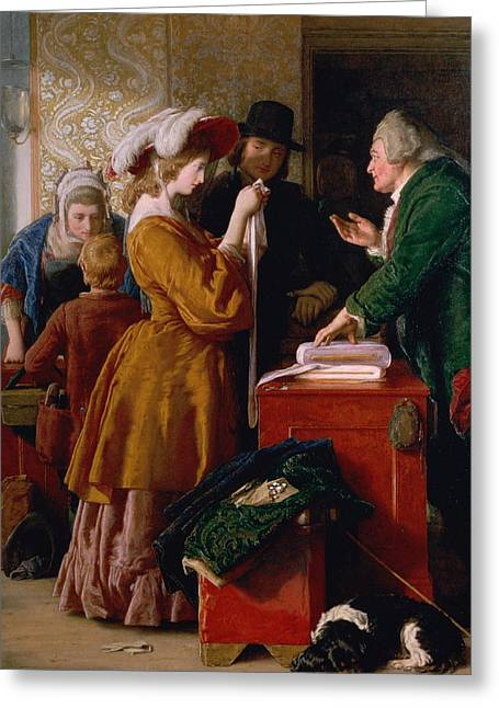 Sentiment Greeting Cards - Choosing the Wedding Gown from chapter 1 of The Vicar of Wakefield Greeting Card by William Mulready