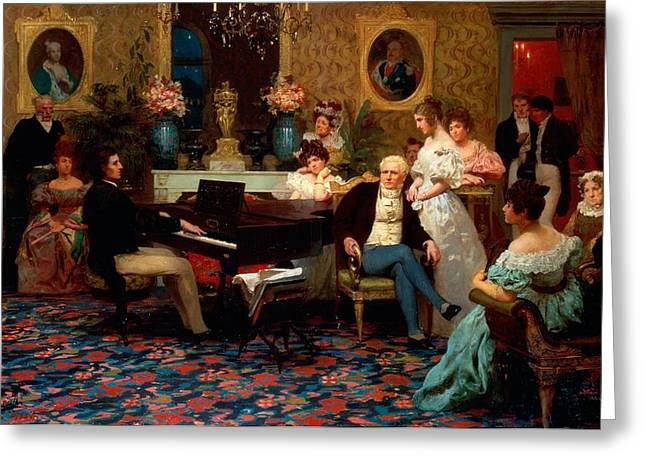 Piano Greeting Cards - Chopin Playing the Piano in Prince Radziwills Salon Greeting Card by Hendrik Siemiradzki