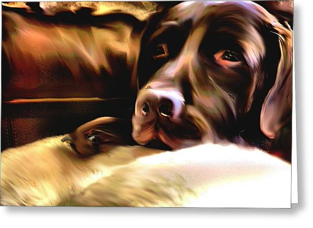 Chocolate Lab Mixed Media Greeting Cards - Chopper And Rudy Greeting Card by Terence Morrissey