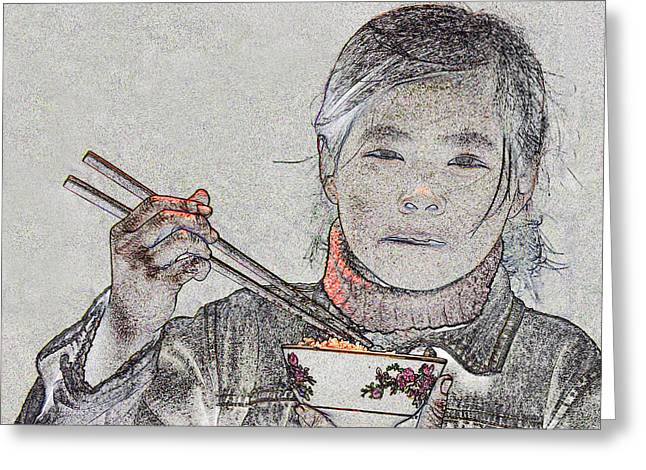 Jim Justinick Greeting Cards - Chopsticks and Rice Greeting Card by Jim Justinick