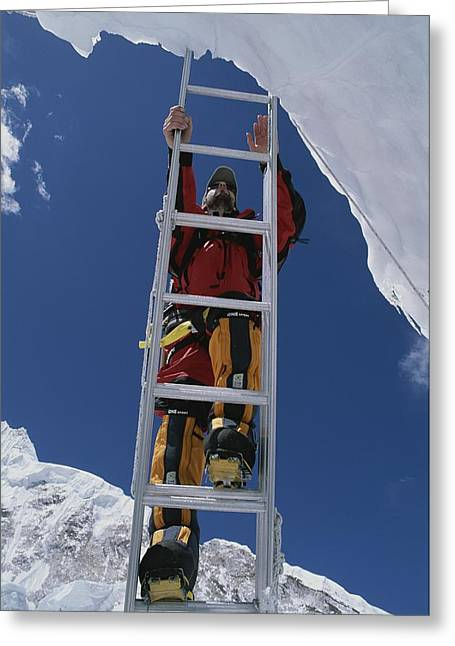 Sportswear Greeting Cards - Chris Binggeli Climbs A Ladder Greeting Card by Bobby Model
