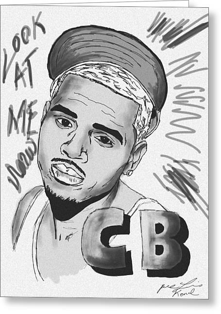 Recently Sold -  - Kenal Louis Greeting Cards - Chris Brown CB Drawing Greeting Card by Kenal Louis