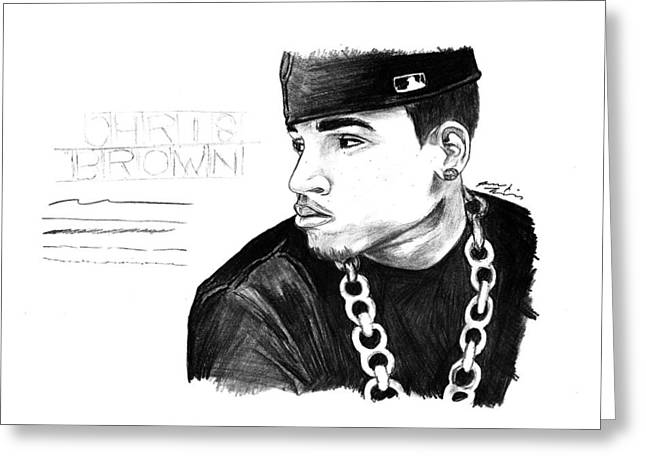 Chris Brown Drawing Greeting Card by Kenal Louis