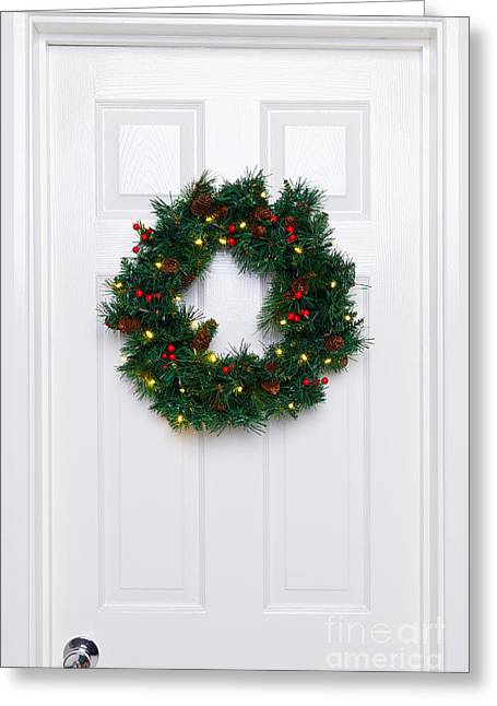 Holly Berry Still Life Greeting Cards - Chrismas wreath on a white door Greeting Card by Richard Thomas