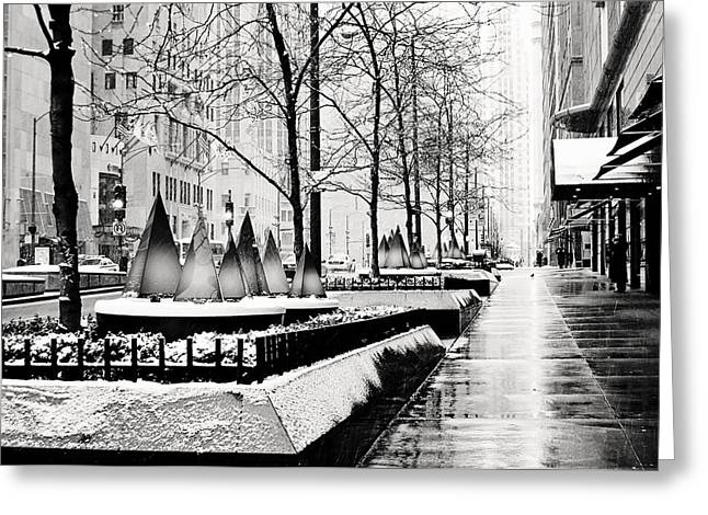 Magnificent Mile Greeting Cards - Chrismtas on the Mag Mile Greeting Card by Laura Kinker