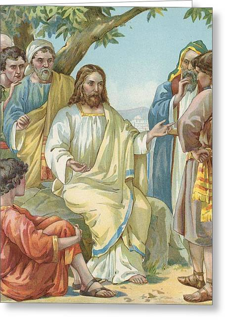 Jesus Teaching Greeting Cards - Christ and His Disciples Greeting Card by Ambrose Dudley