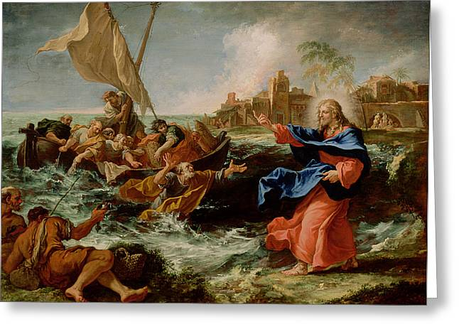 Christ Walking On Water Greeting Cards - Christ at the Sea of Galilee Greeting Card by Sebastiano Ricci