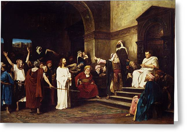 Governors Greeting Cards - Christ Before Pilate Greeting Card by Mihaly Munkacsy