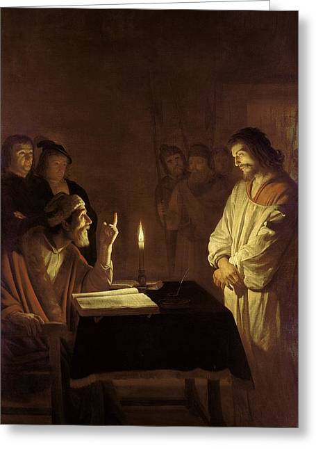 Candle Stand Paintings Greeting Cards - Christ before the High Priest Greeting Card by Gerrit van Honthorst