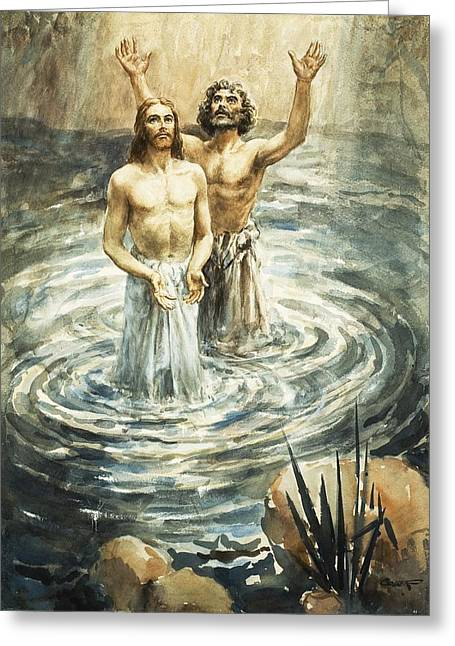 Water Ripples Greeting Cards - Christ being baptised Greeting Card by Henry Coller