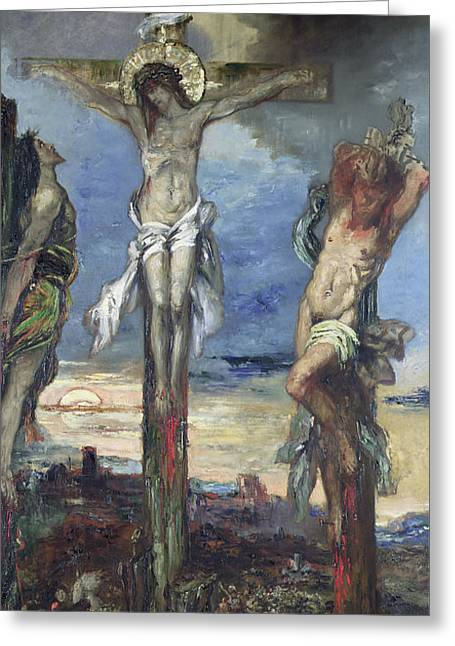 Calvary Greeting Cards - Christ between the Two Thieves Greeting Card by Gustave Moreau
