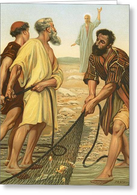 Lord Paintings Greeting Cards - Christ calling the disciples Greeting Card by Philip Richard Morris