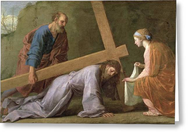 Religious Paintings Greeting Cards - Christ Carrying the Cross Greeting Card by Eustache Le Sueur