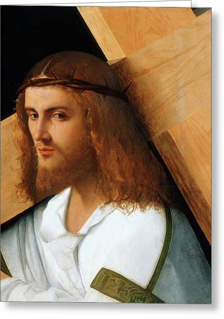 Giovanni Greeting Cards - Christ Carrying the Cross Greeting Card by Giovanni Bellini