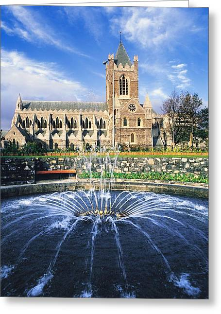 Garden Statuary Greeting Cards - Christ Church Cathedral, Synod Hall Greeting Card by The Irish Image Collection