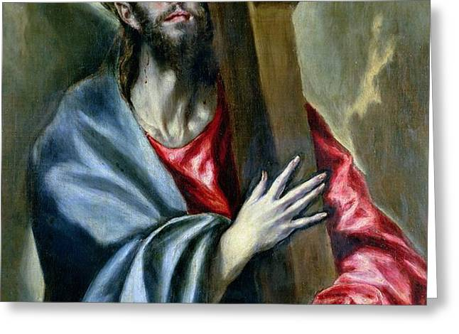 Christ Clasping the Cross Greeting Card by El Greco