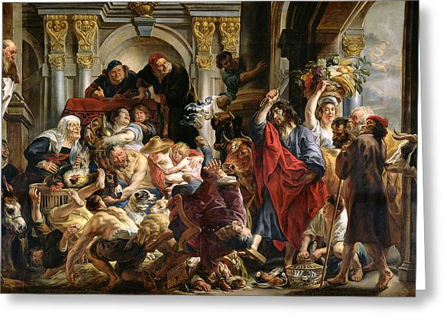 Trader Greeting Cards - Christ Driving the Merchants from the Temple Greeting Card by Jacob Jordaens