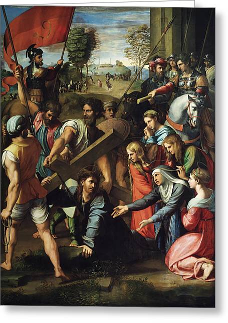 Calvary Greeting Cards - Christ Falls on the Way to Calvary Greeting Card by Raphael