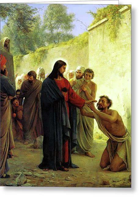 Blinds Greeting Cards - Christ Healing the Blind Man Greeting Card by Carl Heinrich Bloch