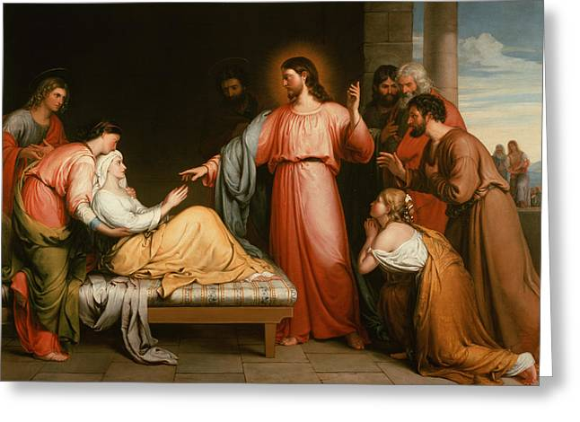 Simon Greeting Cards - Christ healing the mother of Simon Peter Greeting Card by John Bridges