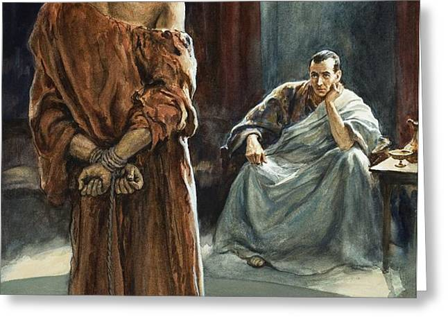 Christ in front of Pontius Pilate Greeting Card by Henry Coller
