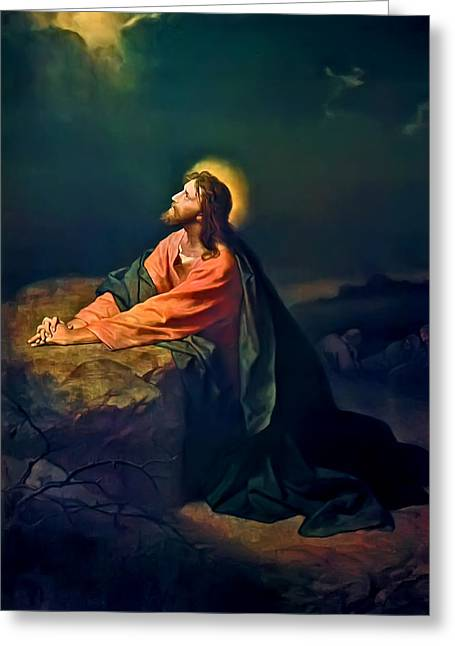 Printed Paintings Greeting Cards - Christ In Garden of Gethsemane Greeting Card by Heinrich Hofmann