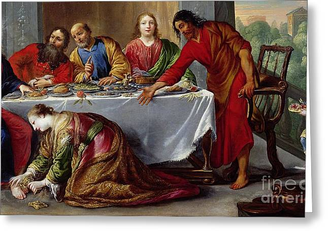 Sinner Greeting Cards - Christ in the House of Simon the Pharisee Greeting Card by Claude Vignon