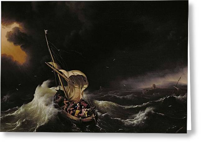 Faith Greeting Cards - Christ in the Storm on the Sea of Galilee Greeting Card by Ludolph Backhuysen