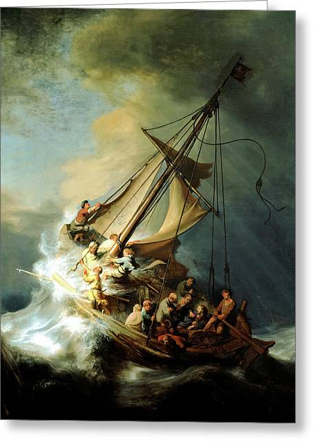 Christ Paintings Greeting Cards - Christ In The Storm Greeting Card by Rembrandt