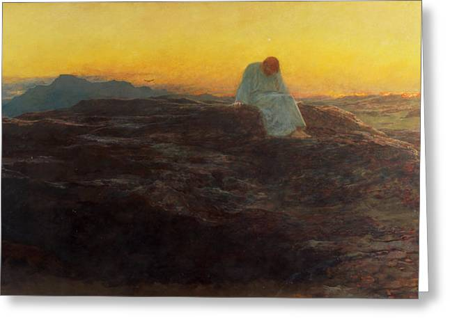 Spirit Paintings Greeting Cards - Christ in the Wilderness Greeting Card by Briton Riviere