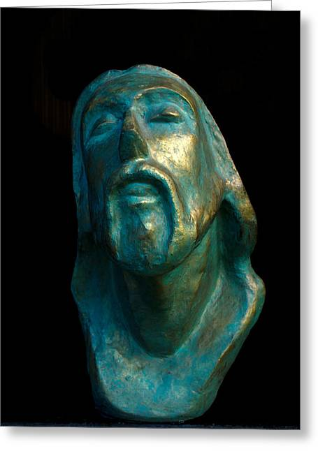 Christ Sculptures Greeting Cards - Christ Greeting Card by Jeevan  Lal MP
