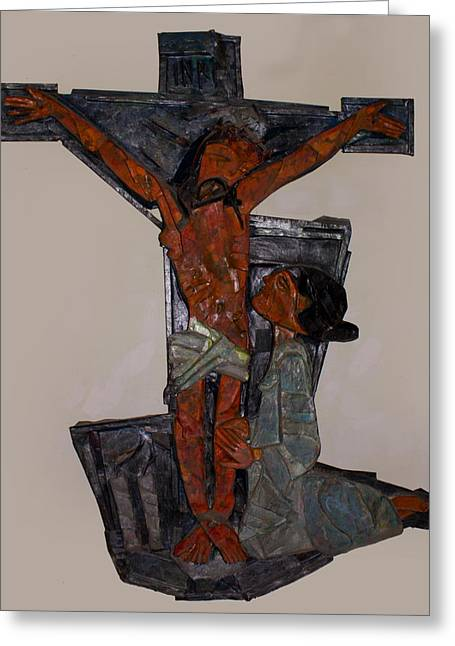 Christ Reliefs Greeting Cards - Christ on the Cross Greeting Card by Jeevan  Lal MP