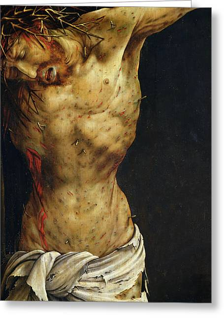Spiritual Paintings Greeting Cards - Christ on the Cross Greeting Card by Matthias Grunewald