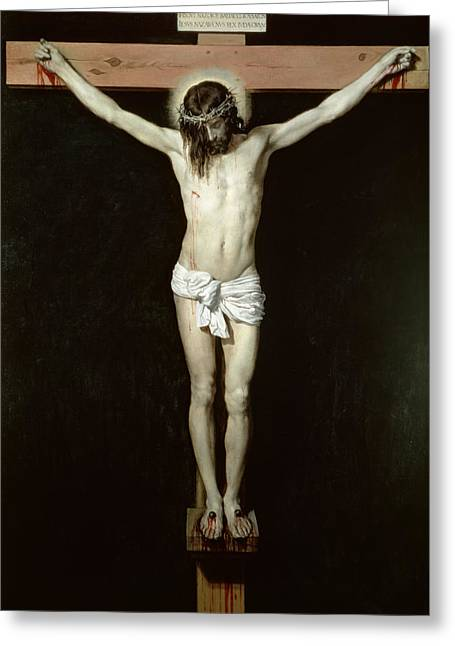 Crown Of Thorns Greeting Cards - Christ on the Cross Greeting Card by Velazquez