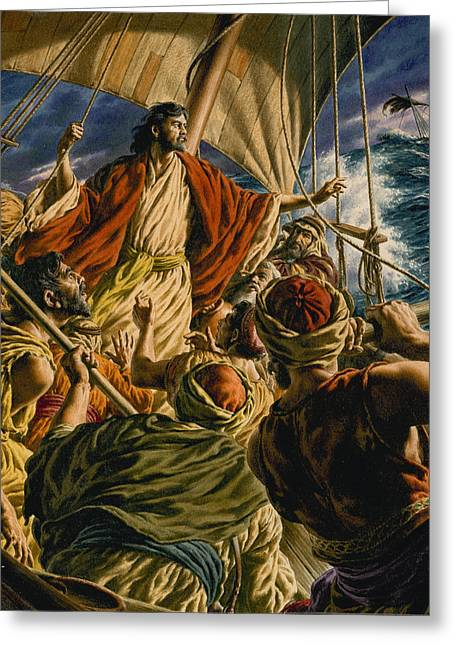 Calm Paintings Greeting Cards - Christ on the Sea of Galilee Greeting Card by Jack Hayes