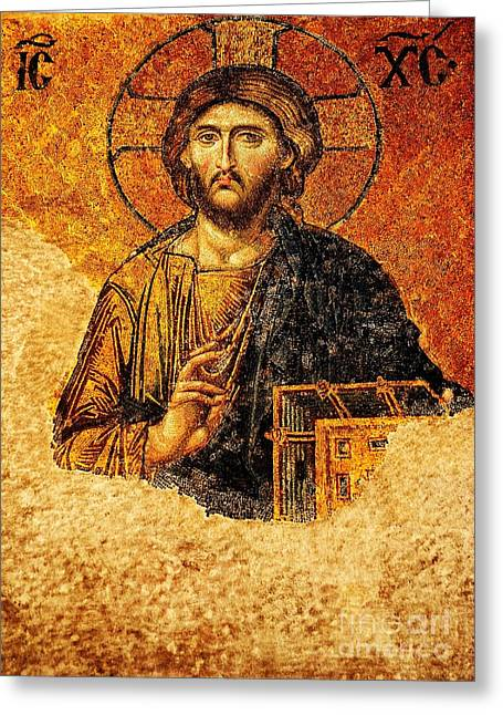 Byzantium Greeting Cards - Christ Pantocrator Greeting Card by Dean Harte